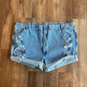Wrangler distressed jean shorts plus size